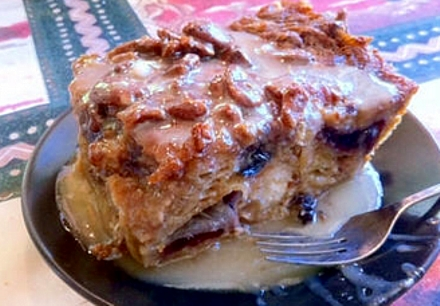 Here is a 'fluffy' version of the same type of bread pudding ... but delicious in its own way.
